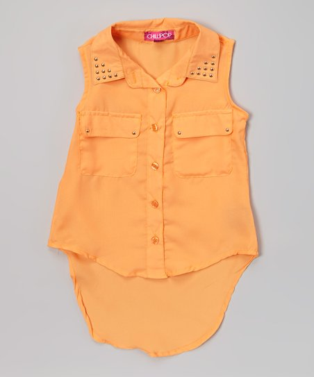Creamsicle Stud Hi-Low Button-Up Tunic - Girls