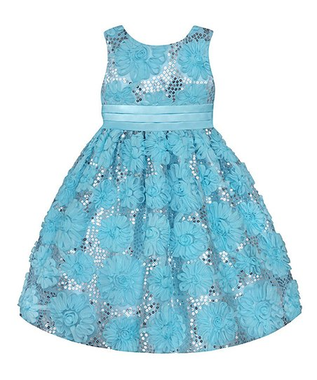 Easter Blue Sequin Floral Dress - Girls' Plus