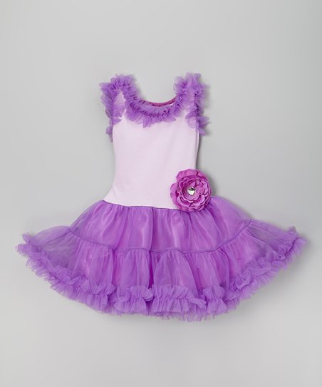 Purple Flower Ruffle Tutu Dress – Infant & Girls