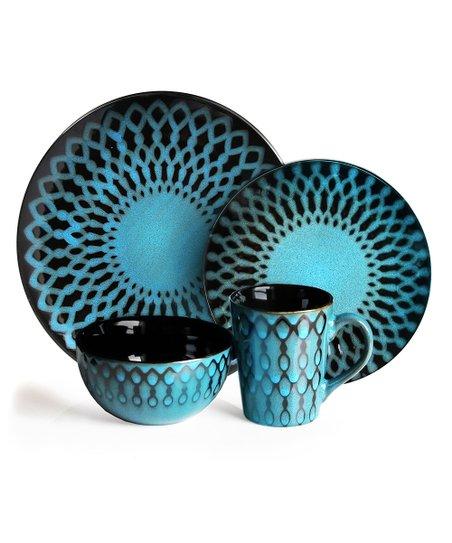 American Atelier Sicily Blue 16-Piece Dining Set