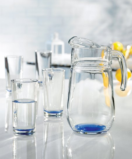 Jay Import Spectrum Colored Glass Pitcher &amp; Beverage Set