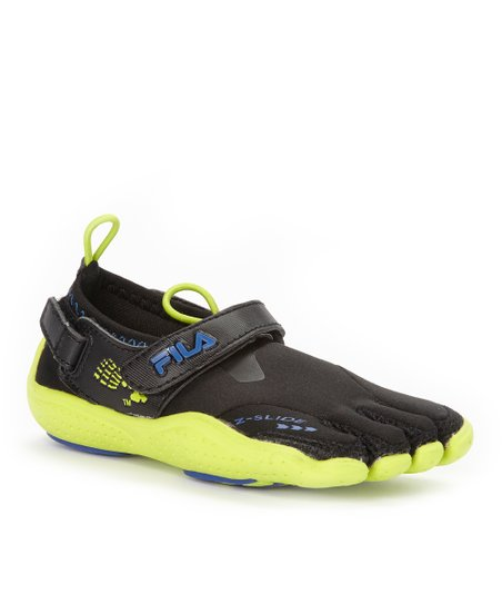 Black & Lime Skele-Toes EZ Slide Drainage Shoe - Kids