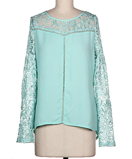 Mint Floral Embroidered Sheer Long-Sleeve Top