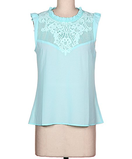 Mint Floral Embroidered Mesh Top