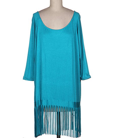 Turquoise Fringe Hem Scoop Neck Tunic