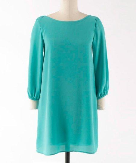 Aqua Mint Scoop Neck Shift Dress