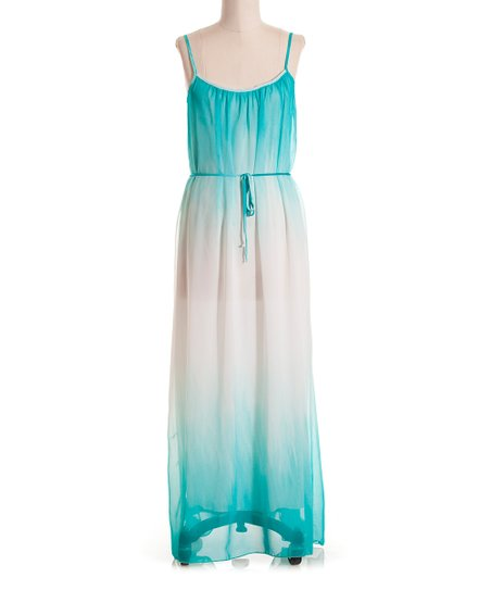 Aqua & White Ombré Tank Maxi Dress
