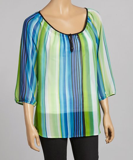 Lime & Aqua Stripe Scoop Neck Top