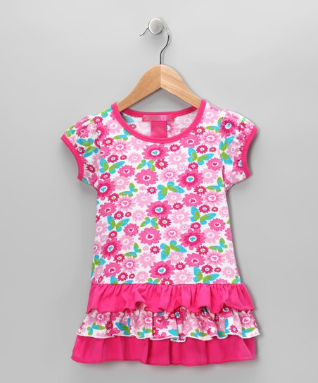 Pink Butterfly Ruffle Tunic - Toddler & Girls
