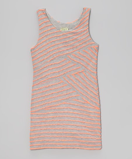 Neon Orange & Gray Stripe Bandage Dress