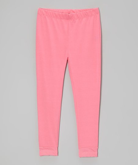 Bright Pink Fishnet Cuff Leggings - Toddler & Girls