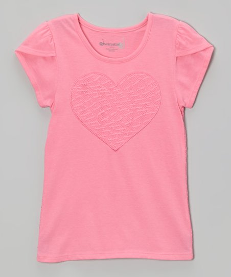 Bright Pink Lace Heart Top - Toddler & Girls