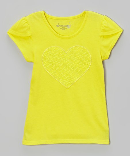 Lemon Lace Heart Top - Toddler & Girls