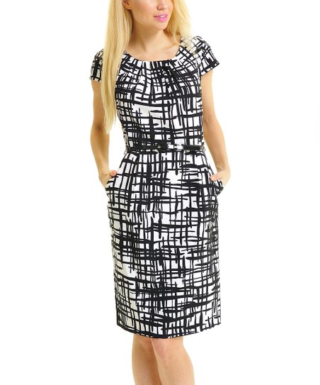 Black & White Belted Shift Dress