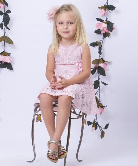 Pink Lace Flower Dress - Toddler & Girls