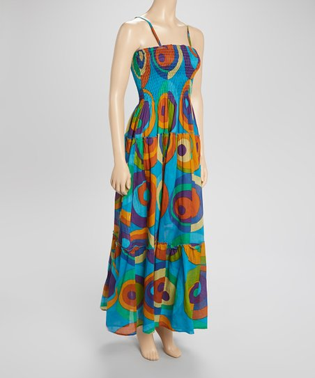 Sky Blue Shirred Maxi Dress