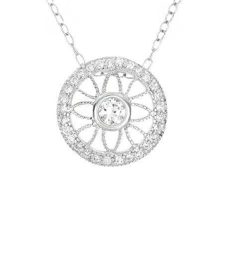 Gem & Sterling Silver Round Pendant Necklace
