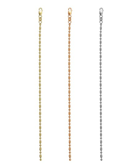 Gold, Rose Gold & Sterling Silver Moon Cut Chain Set