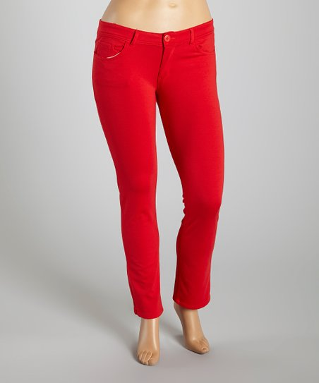 Red Bootcut Pants - Plus