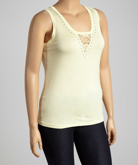 Yellow & Silver Lace Studded Scoop Neck Top - Plus