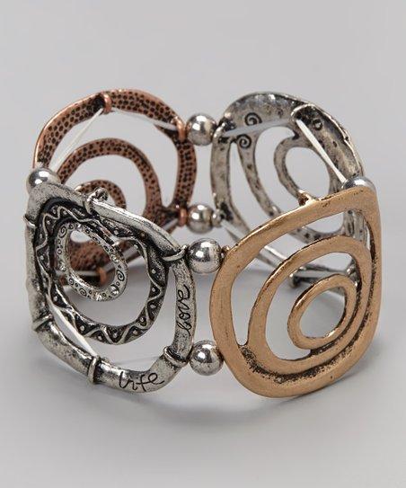 Brass Circles Cuff Stretch Bracelet