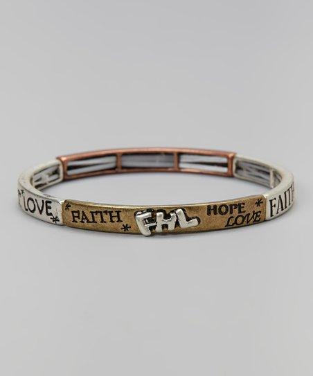 Silver 'Faith Hope Love' Stretch Bracelet