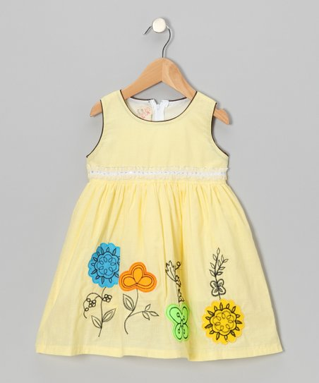 Yellow Floral A-Line Dress - Toddler & Girls