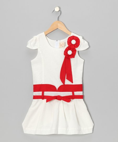White & Red Pearl Ribbon Dress - Toddler & Girls