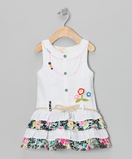 White Floral Drop-Waist Dress - Infant, Toddler & Girls