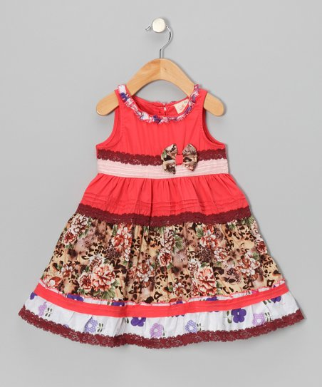 Coral Floral Stripe Bow Dress - Infant, Toddler & Girls