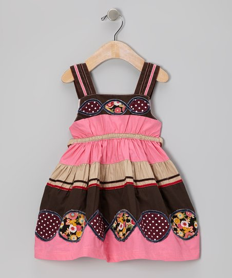 Pink & Brown Patchwork Infinity Dress - Infant, Toddler & Girls