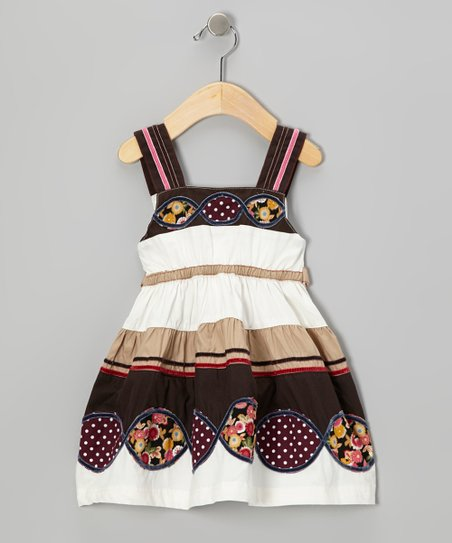 White & Brown Patchwork Infinity Dress - Infant, Toddler & Girls
