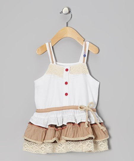 White & Khaki Drop-Waist Dress - Infant, Toddler & Girls
