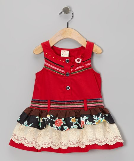 Red Floral Drop-Waist Dress - Infant, Toddler & Girls
