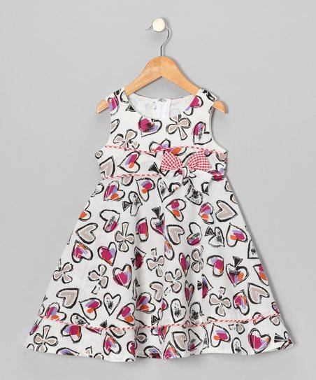 White Heart Sketch A-Line Dress - Toddler & Girls