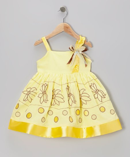 Yellow Flower Satin-Trim Dress - Toddler & Girls