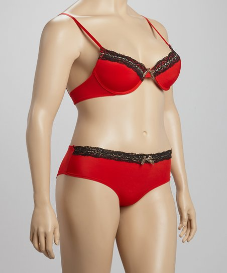 Formula One & Black Lace in Love Bra & Hipster - Plus
