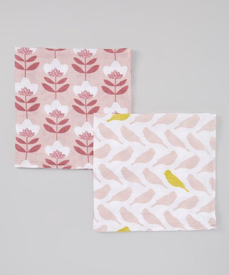 Pink Daisy Organic Burp Cloth Set