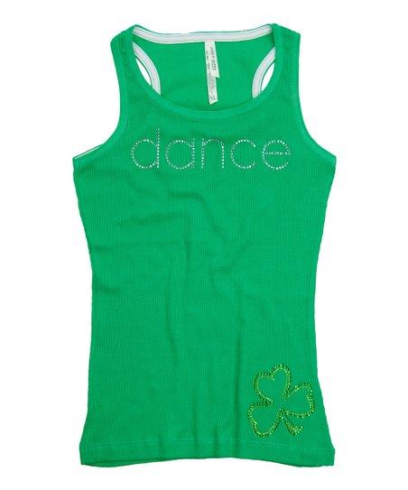 Green Rhinestone 'Dance' Tank – Girls
