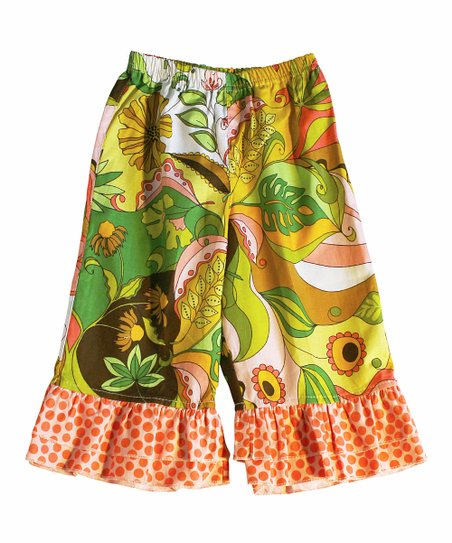 Green Floral Ruffle Pants - Infant & Girls