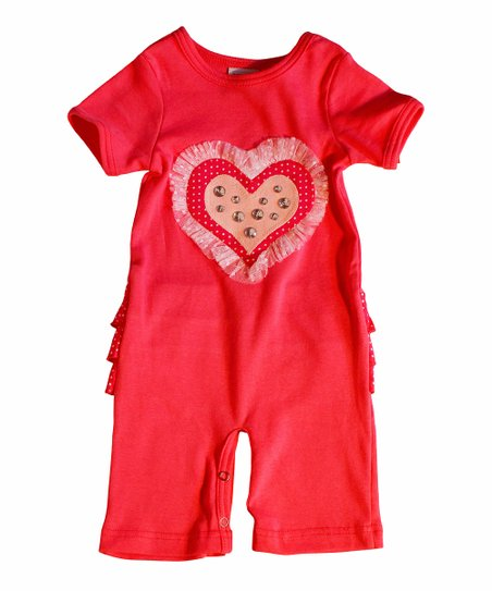 Red & White Polka Dot Jewel Heart Playsuit - Infant