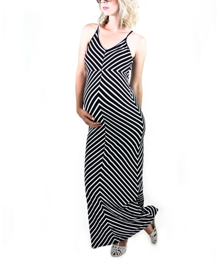 Black Chevron Maternity Maxi Dress