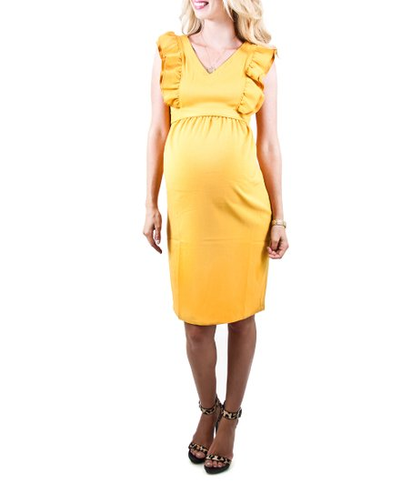 Mustard Eden Maternity Dress