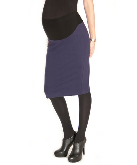 Navy Over-Belly Maternity Pencil Skirt