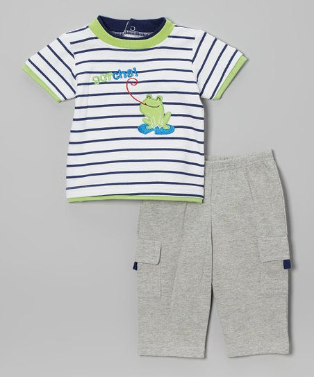 Gray & Lime Stripe Frog 'Gotcha' Bodysuit & Pants - Infant