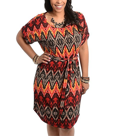 Red & Mustard Tribal Dress - Plus
