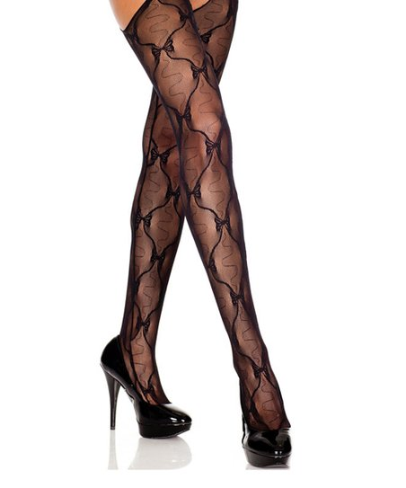 Black Lace Bow Suspender Tights