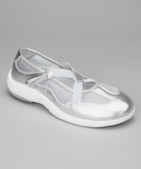 Silver & Light Gray Sapphire Slip-On Leather Shoe