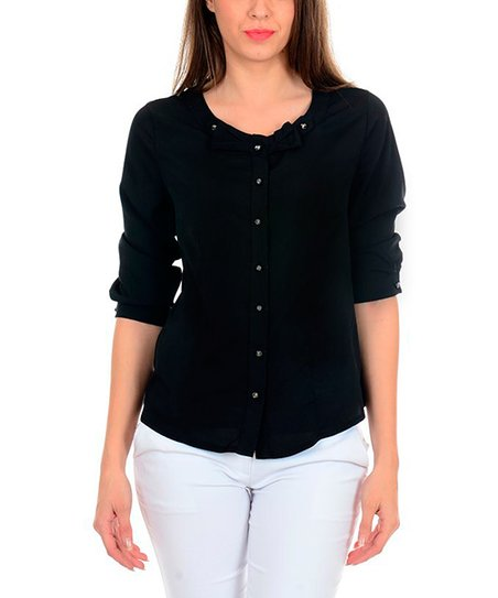 Black Bow Button-Up