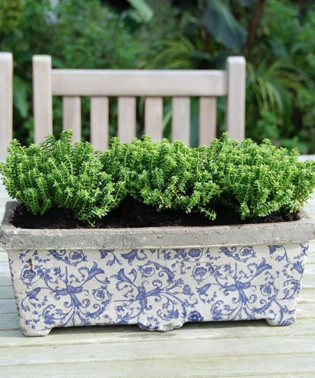 Blue & White Floral Scroll Balcony Planter